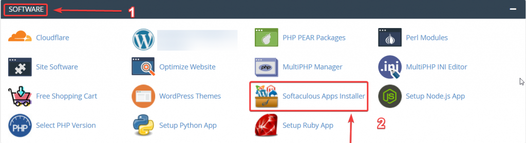 Chọn Softaculous Apps Installer trên giao diện Cpanel