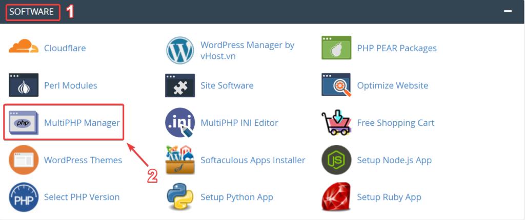 Chọn MultiPHP Manager để tiến hành thay đổi version PHP.