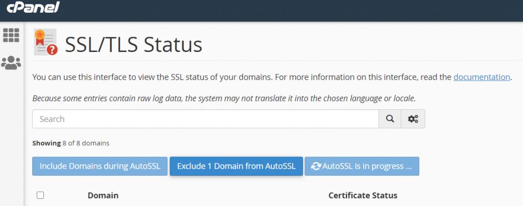 SSL đang được cấp cho domain.