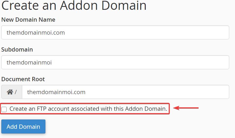 Tạo tài khoản FTP cho Domain.