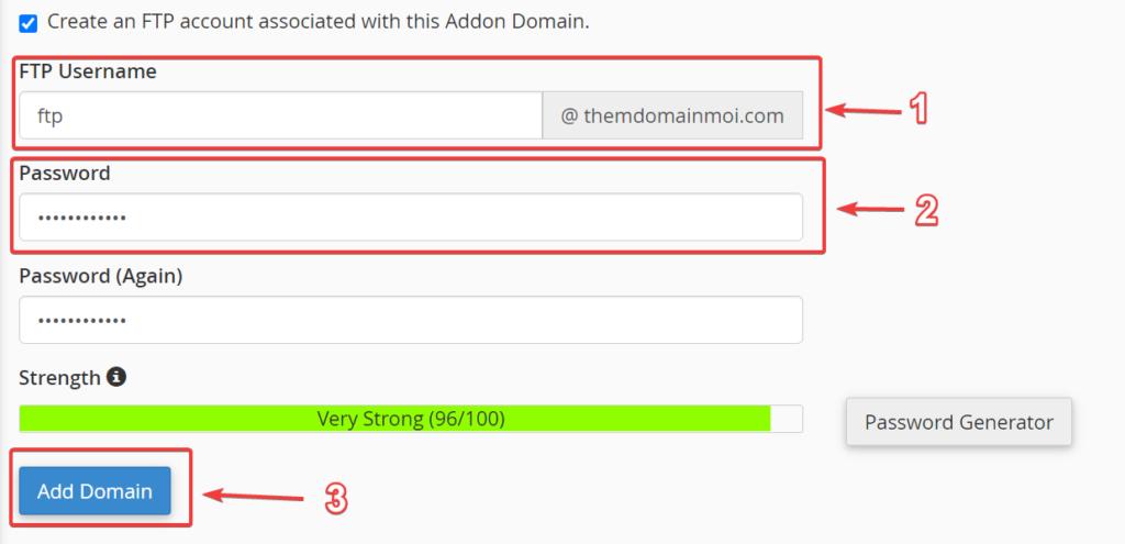 Thông tin FTP cho Domain.